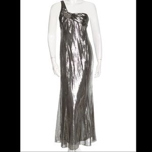 David Meister One Shoulder Mermaid Gown Metallic 2